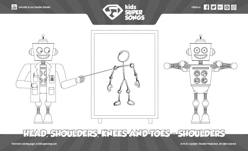 coloring page head shoulders knees toes shoulders kids super songs