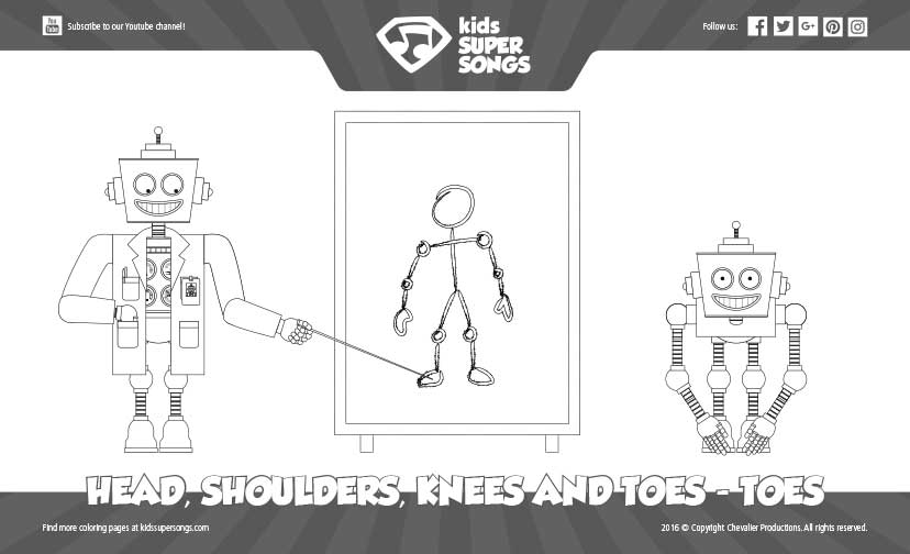 Coloring Page Head Shoulders Knees And Toes Toes Kids Super Songs
