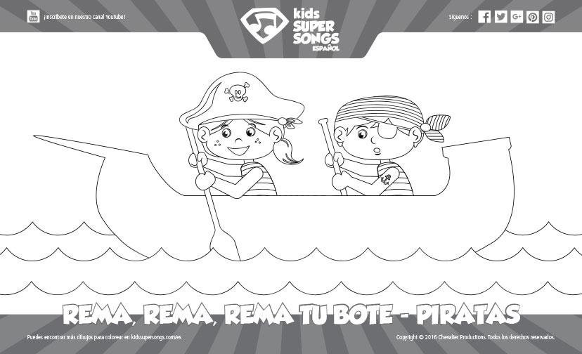 Dibujo para Colorear - Rema, Rema, Rema Tu Bote - Piratas (Verano ...