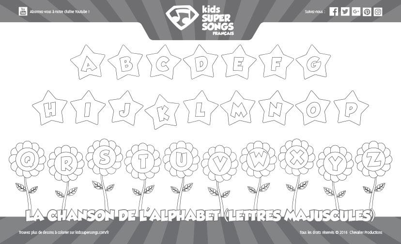 Dessin colorier la chanson de l 39 alphabet lettres majuscules kids super songs fran ais - Lettres majuscules a colorier ...